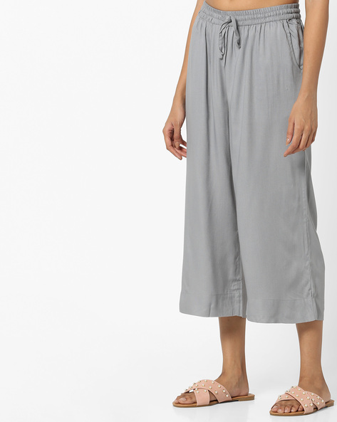 Cropped Culottes With Drawstring Waist By Project Eve IW Casual ( Grey )