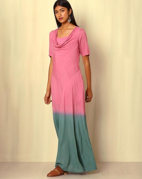 Tie & Dye Cotton Silk Dress By Sanyogini ( Pink )