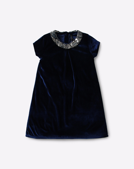 A-line Dress With Peter Pan Collar By RIO GIRLS ( Navy )
