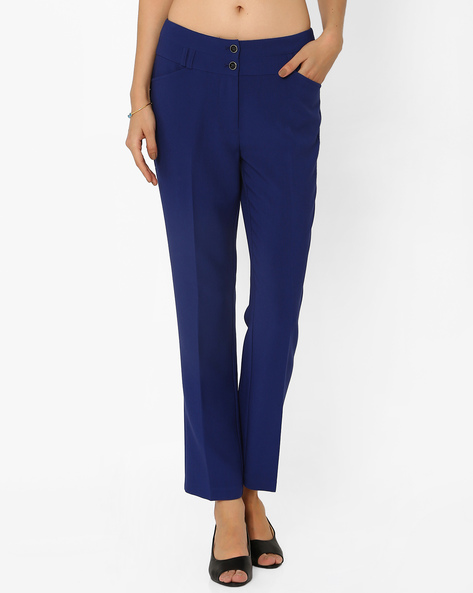 Ankle-Length Trousers By AJIO ( Blue )