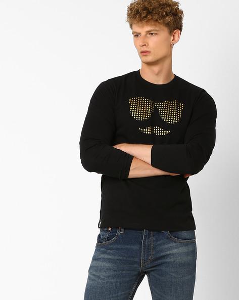 Foil Print T-shirt With Laser Cutouts By Garcon ( Black )