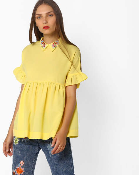 Babydoll Top With Tie-Up By AJIO ( Yellow )