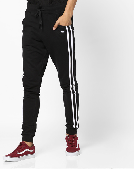 Relaxed Fit Joggers With Contrast Taping By Garcon ( Black )