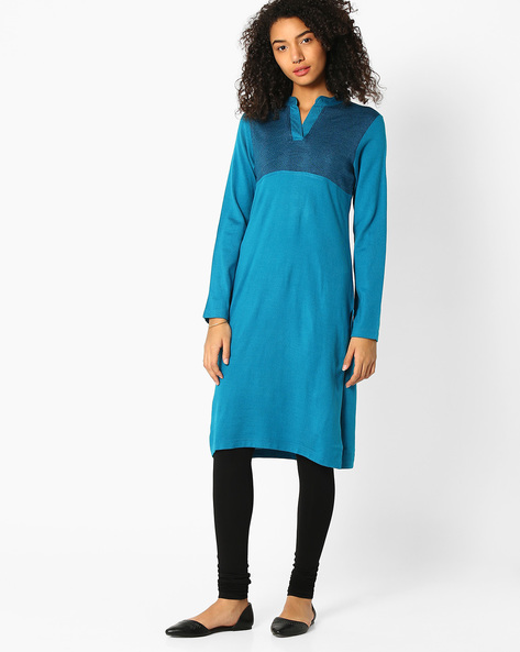 Kurta With Contrast Bodice By AVAASA MIX N' MATCH ( Turquoise )