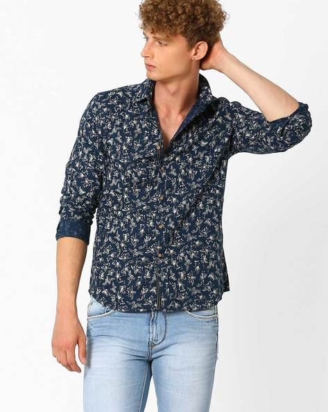Floral Print Shirt By NETPLAY ( Navy )