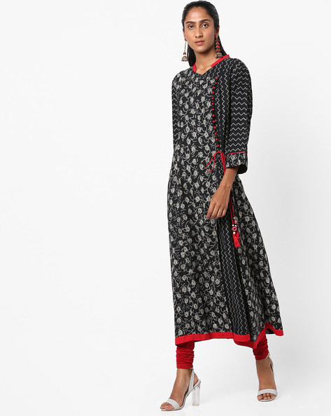 Floral Print Kurta With Side Tie-Up By Shree ( Black )
