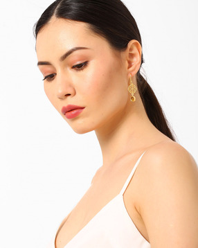 Honeycomb-Shaped Drop-Earrings