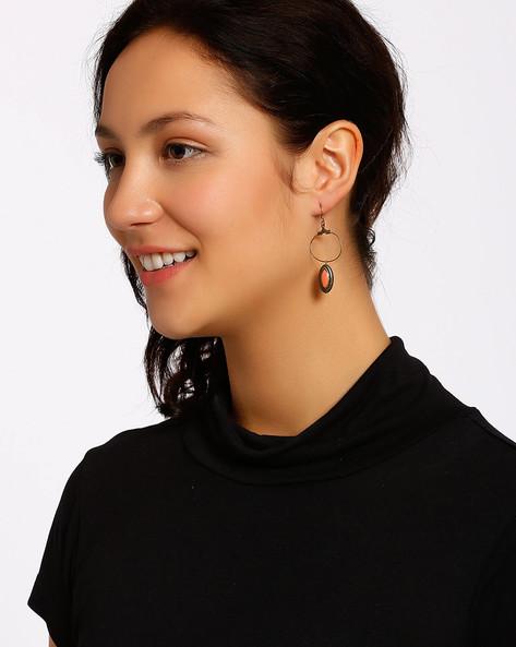 Gold-Plated Dangler Earrings By Shabnam Gitanjali ( Peach )