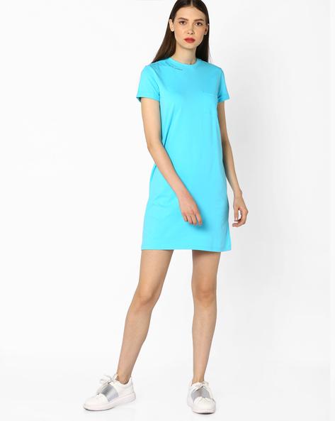Jersey Dress With Upturned Hems By AJIO ( Blue )