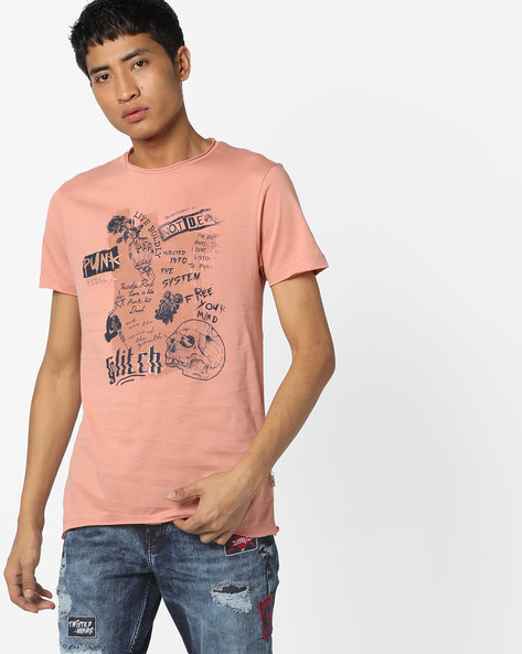 Graphic Print Slim Fit T-shirt By Jack & Jones ( Pink )