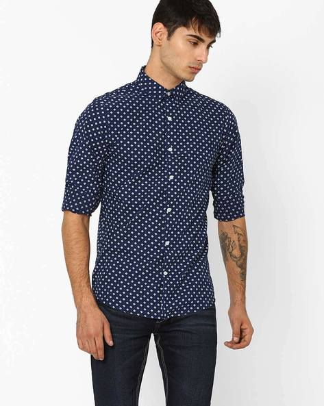All-Over Print Slim Fit Shirt By ADAMO LONDON ( Indigo )