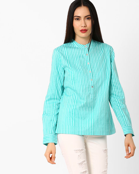 Striped Shirt With Band Collar By AJIO ( Turquoise )