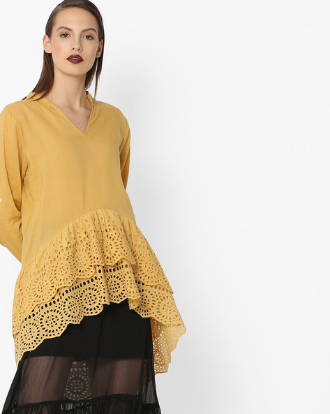 Tunic With Tiered High-Low Hem By Rena Love ( Mustard )