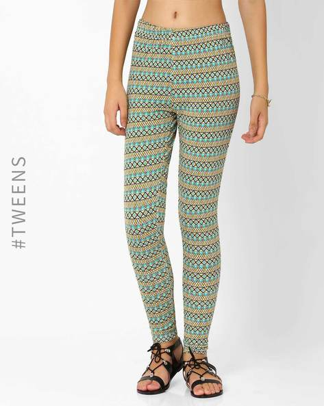 Knitted Aztec Print Leggings By AJIO ( Yellow )