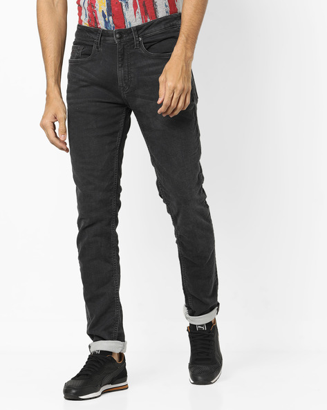 Super Slim Fit Jeans With Whiskers By ED HARDY ( Blue )