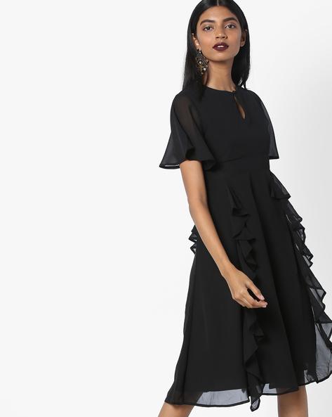 Skater Dress With Ruffles By Femella ( Black )