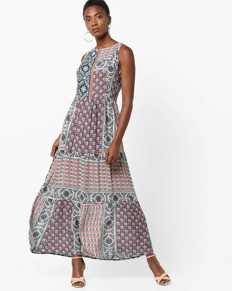 Printed Sleeveless Maxi Dress With Cutout Back By Rena Love ( Multi )