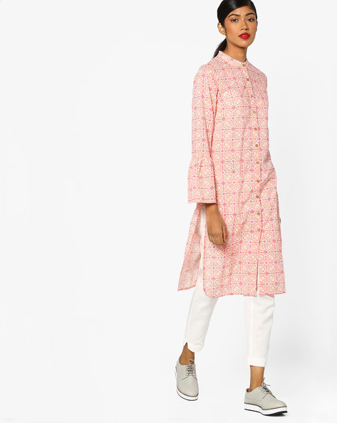 Printed Straight Kurta With Bell Sleeves By AJIO ( Pink )