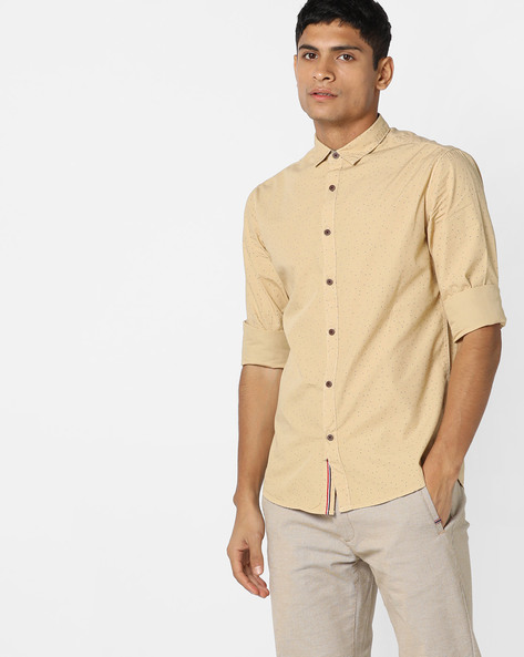 Geometric Print Slim Fit Shirt By AJIO ( Beige )