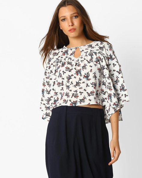 Floral Print Crop Top By RIO ( White )
