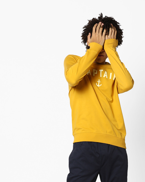 Printed Crew-Neck Sweatshirt By AJIO ( Mustard )