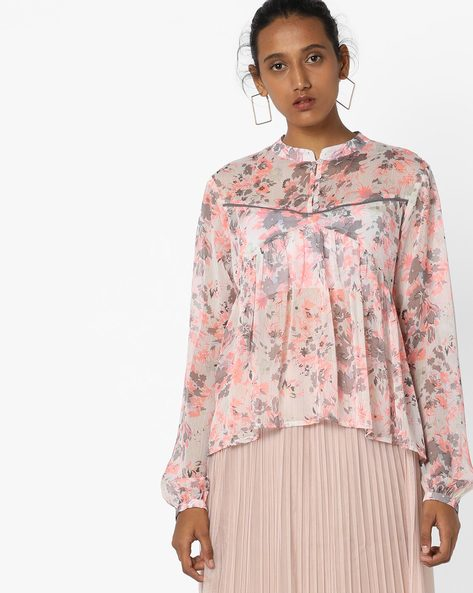 Pleated Floral Print Top With Mandarin Collar By AJIO ( White )