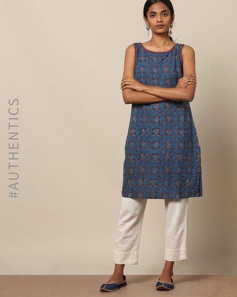 Handblock Print Cotton Sleeveless Kurta By Sadhna ( Blue )
