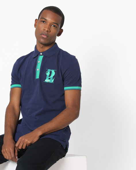 Polo T-shirt With Chest Print By UNITED COLORS OF BENETTON ( Navyblue )