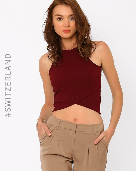Crop Top With Cutaway Shoulders By TALLY WEiJL ( Wine )