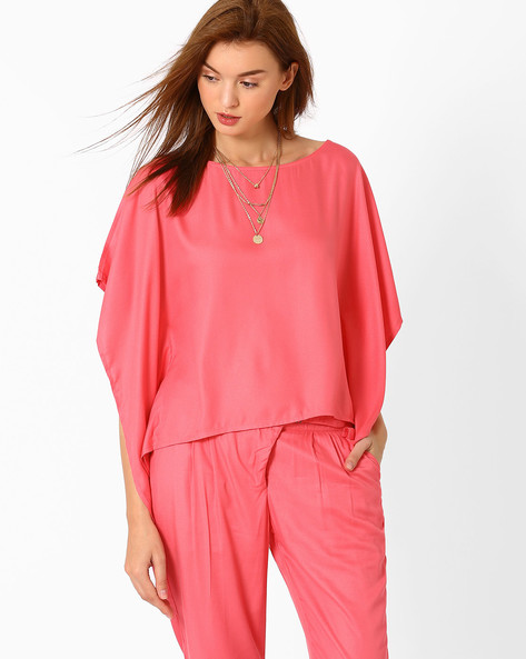 Top With Kimono Sleeves By AJIO ( Pink )