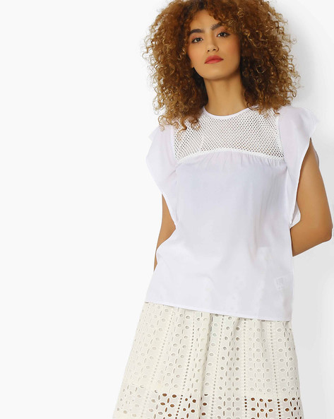 Top With Crochet Yoke By Blue Saint ( White )
