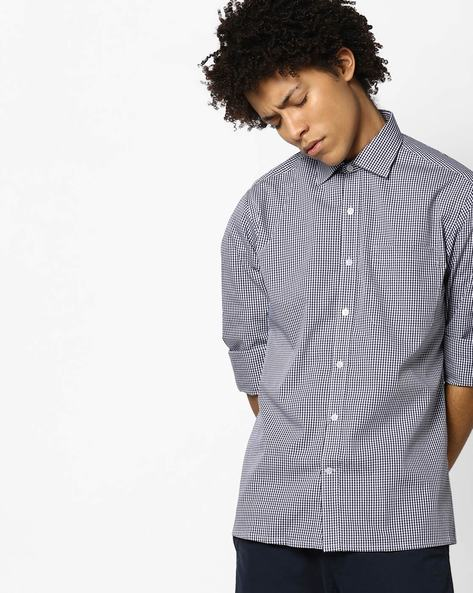 Yarn-Dyed Checked Shirt With Pocket By JOHN PLAYERS ( Ltblue )