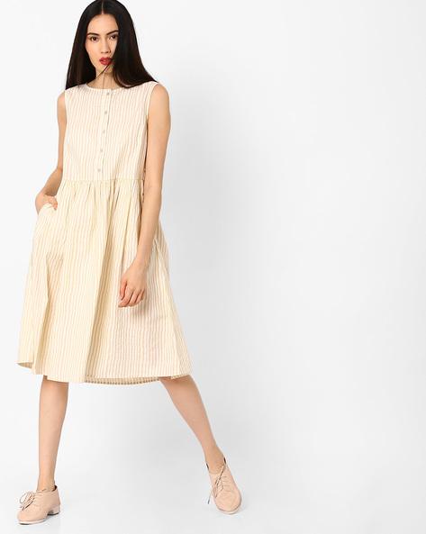 Striped Sleeves Fit & Flare Dress By AJIO ( Beige )