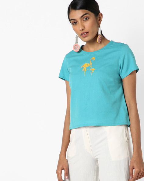 Embroidered Top With Buttoned Back By AJIO ( Teal )