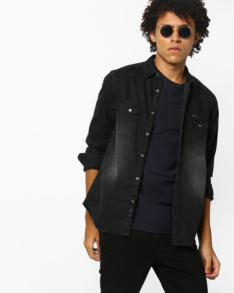 Lightly Washed Slim Fit Shirt By AJIO ( Black )