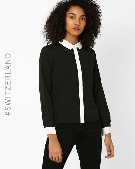 Full Sleeve Shirt With Contrast Collar By TALLY WEiJL ( Black )