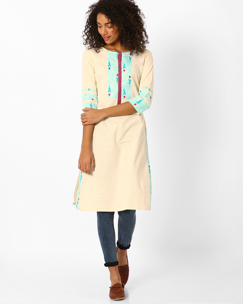 Straight Kurta With Printed Panels By AJIO ( Offwhite )