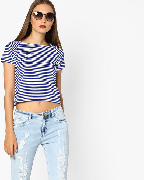 Striped Crop T-shirt By AJIO ( Blue )