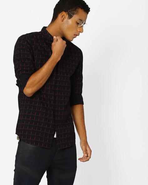 Slim Fit Checked Shirt By Jack & Jones ( Black )