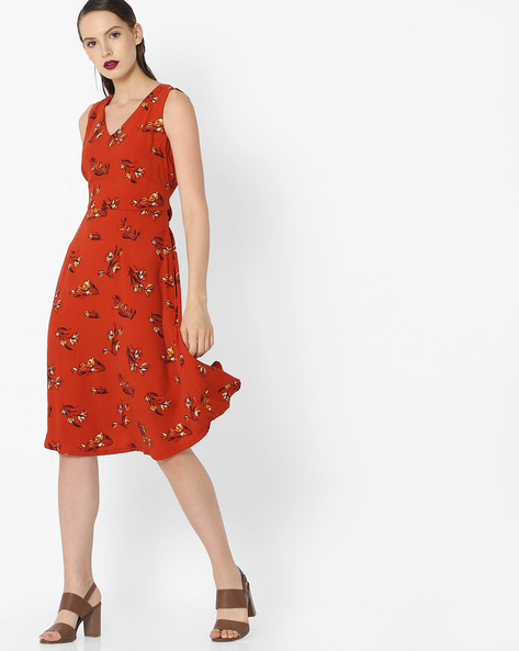 V-neck Printed Dress By Project Eve WW Work ( Orange )