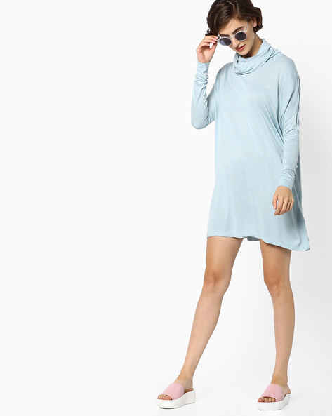 A-line Dress With Cowl Neck By AJIO ( Blue )