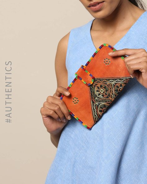 Hand Embroidered Pure Leather Clutch With Mirror Work By SWADESH ( Brown )