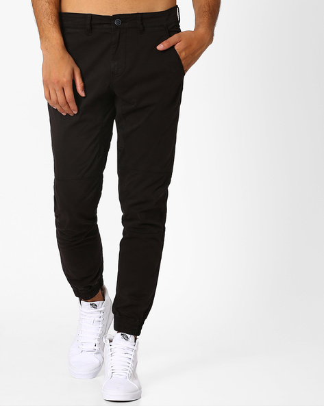 Slim Fit Stretch Overdyed Woven Joggers By AJIO ( Charcoal )