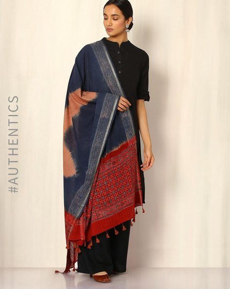 Ajrak Handblock Print Shibori Cotton Dupatta By Indie Picks ( Indigo ) - 460045113001