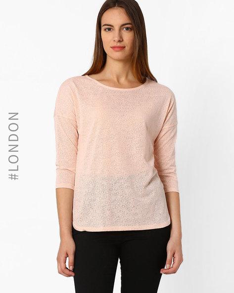 Floral Burnout T-shirt By Marks & Spencer ( Lightpink )