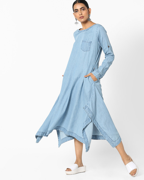 Denim Kurta With Roll-Up Tabs By Project Eve IW Casual ( Blue )