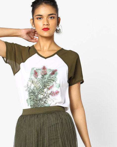 Graphic Print T-shirt With Sheer Sleeves By Project Eve WW Athleisure ( White )