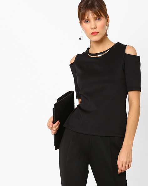 Top With Cold-Shoulder Sleeves By AJIO ( Black )