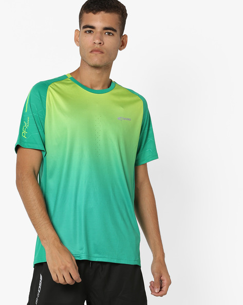 Crew-Neck Running T-Shirt With Ombre Effect By PERFORMAX ( Green )