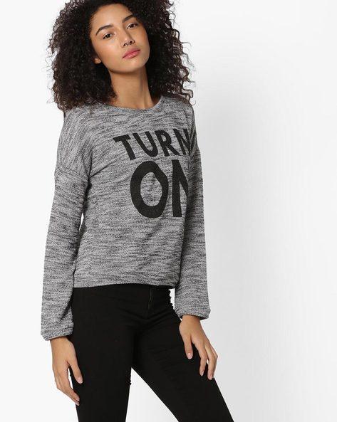 Printed Sweatshirt With Grown-On Sleeves By RIO ( Medgrey )